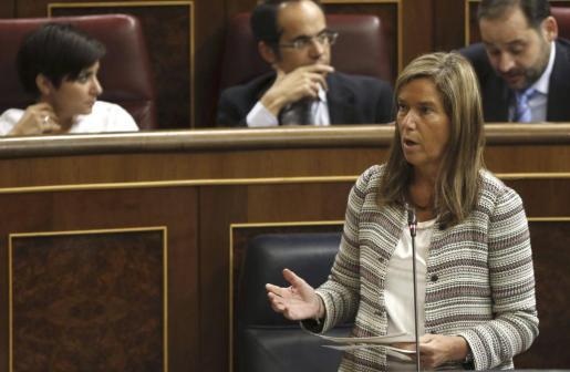 La ministra de Sanidad, Ana Mato, durante su intervención este miércoles en la sesión de control al Gobierno en el Congreso en la que ha respondido a la pregunta del PSOE sobre qué está haciendo el Gobierno ante el aumento de esta lacra entre los más jóvenes.