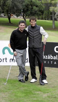 José María Olazábal y Rafael Nadal, en la edición de 2013 del 'Olazábal&Nadal Invitational by Pula Golf Mallorca'.