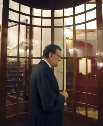 El presidente del Gobierno, Mariano Rajoy, a su llegada este jueves al Congreso.