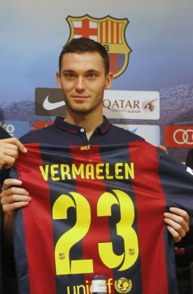 El defensa del Barça Thomas Vermaelen durante su presentación.