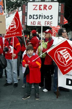 Trabajadores de Coca Cola en Palma, en una de las protestas que realizaron ante el ERE.