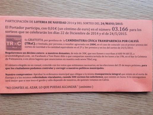 Imagen de una de las participaciones de lotería que reparte Transparencia por Calvià