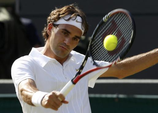 El suís Federer en un moment del partit.