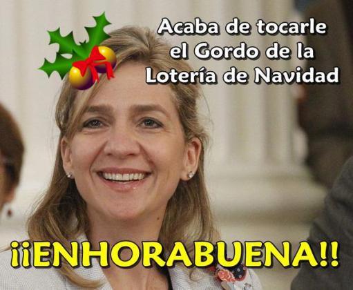 Los chistes sobre la infanta Cristina y El Gordo de Navidad han inundado las redes sociales.