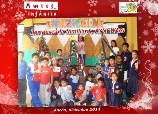 Felicitación navideña de los niños acogidos en el hogar Aynewasi.