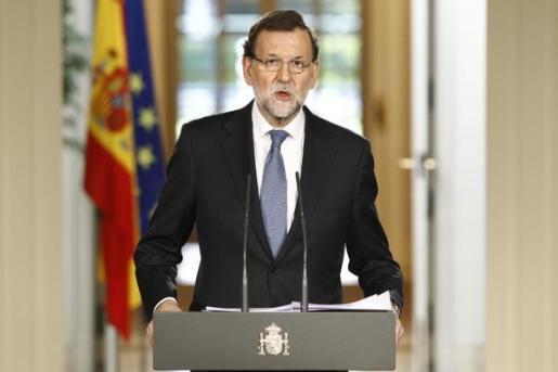 El presidente del Gobierno, Mariano Rajoy, durante su comparecencia.