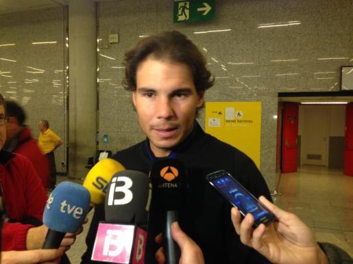 Rafael Nadal, este martes en Son Sant Joan, rumbo a Abu Dhabi.