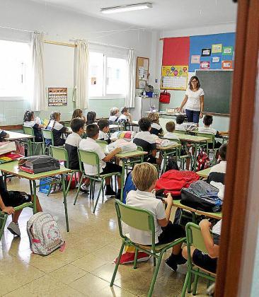 Escolares en clase, en un centro de la Palma.