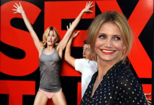 La actriz estadounidense Cameron Díaz llega al estreno de la película 'Sex Tape'.
