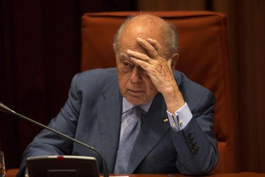 El expresidente de la Generalitat, Jordi Pujol, durante su comparecencia ante la comisión de Asuntos Institucionales del Parlament de Catalunya.