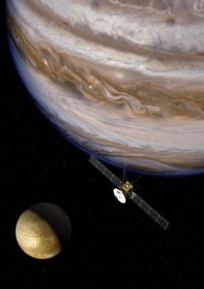 Imagen del planeta Júpiter, donde un satélite explora las lunas heladas.