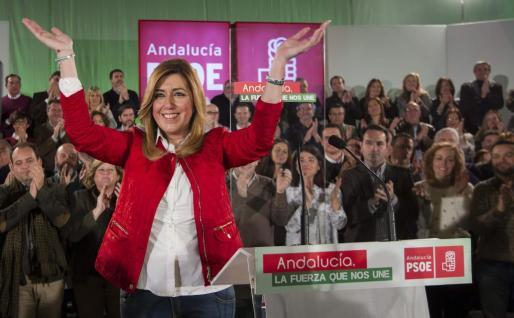 La presidenta de la Junta de Andalucía, Susana Díaz, interviene en un acto con candidatos y candidatas socialistas a las elecciones municipales.