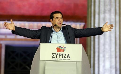 El líder de Syriza, Alexis Tsipras, habla tras saberse ganador de las elecciones griegas.