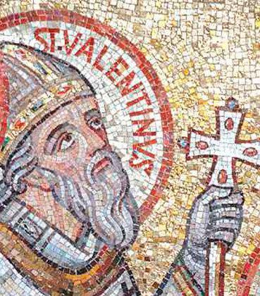 Mosaico con la figura del sacerdote Valentín, convertido en santo.