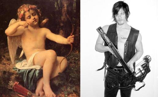 A la izquierda, una pintura de Cupido, mientras que a la derecha aparece el personaje de 'The walking dead' Daryl Dixon.