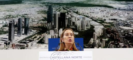 La ministra de Fomento, Ana Pastor, durante su intervención en la presentación del proyecto Distrito Castellana Norte, que supone la recuperación y puesta en marcha definitiva de la Operación Chamartín, ideada hace 20 años y aplazada por la crisis.