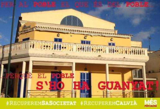 Cartel realizado por MÉS per Calvià sobre la situación de Sa Societat-