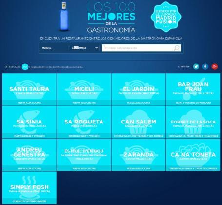 Listado de los trece restaurantes mallorquines incluidos en la lista del Top 100 español, según Madrid Fusión.