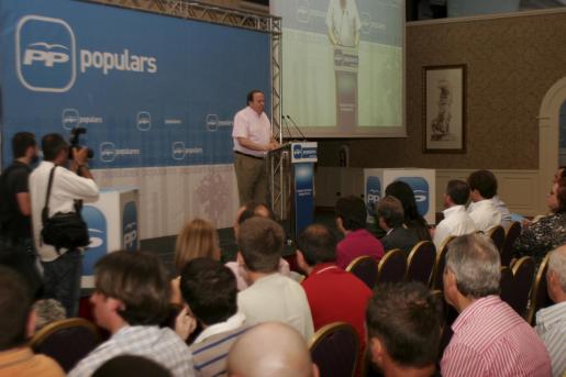 José María Rodríguez, durante su intervención en la asamblea del PP de Palma.