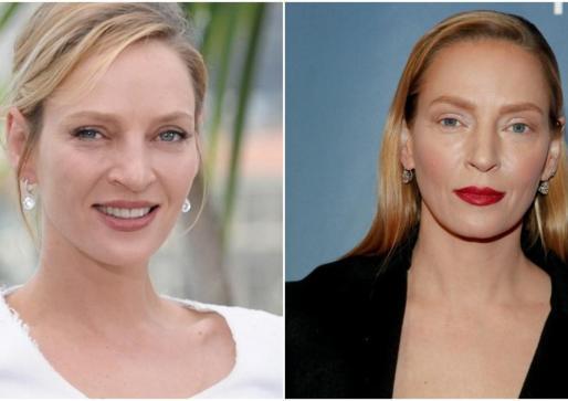 Transfomación de Uma Thurman, a la izquierda antes y a la derecha el nuevo rostro de la actriz