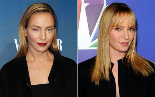 A la izquierda, Uma Thurman transformada por el maquillaje.