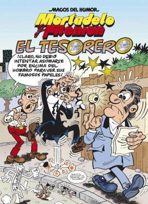 """Fotografía facilitada por Ediciones B del álbum número 200 de la serie de Mortadelo y Filemón en la que el dibujante Francisco Ibáñez los sitúa persiguiendo al tesorero del """"Partido Papilar"""" en su nueva aventura."""