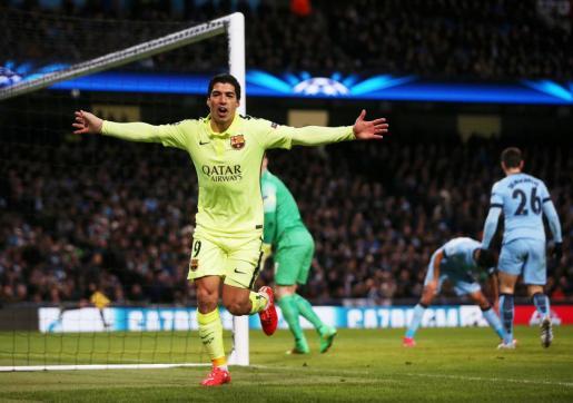 Luis Suárez celebrando el segundo gol del Barcelona.