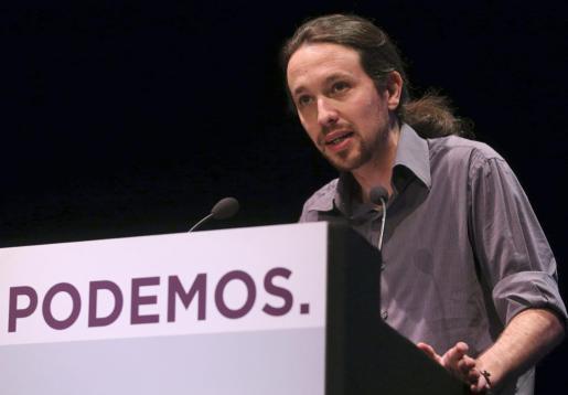 """El secretario general de Podemos, Pablo Iglesias, durante su intervención en """"El otro estado de la nación"""", en contraposición con el debate sobre el estado de la nación celebrado este miércoles en el Congreso de los Diputados, un acto realizado por el partido en el Círculo de Bellas Artes de Madrid."""
