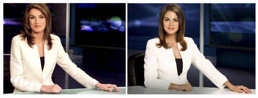 Combo de la Princesa Letizia en la época en que era presentadora de TVE y la actriz Amaia Salamanca.