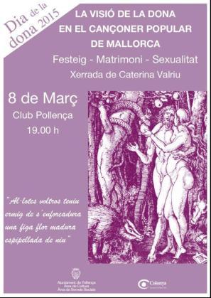 Cartel promocional de la charla de Caterina Valriu en el Día Internacional de la Mujer.