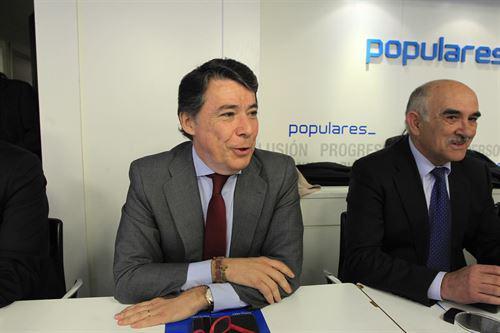 El presidente de la Comunidad de Madrid, Ignacio González, durante la rueda de prensa.