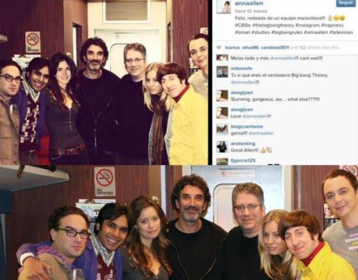 Composición con el montaje fotográfico que la actriz usó para asegurar que aparecería en la serie 'The Big Bang Theory', junto con la imagen original y los comentarios que ello levantó.