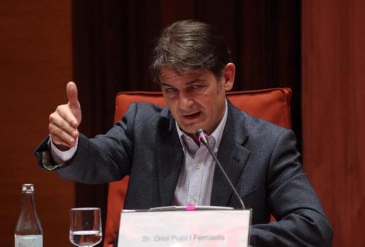 El hijo del expresidente Jordi Pujol, exdiputado y exdirigente de CDC, Oriol Pujol Ferrusola, en su comparecencia ante la comisión del Parlament.