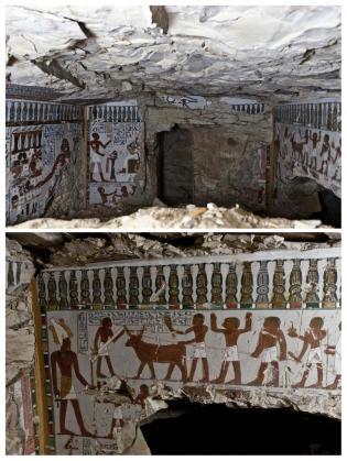 """Combo de imágenes facilitadas por el Ministerio egipcio de Antigüedades del mausoleo del llamado """"guardián de la puerta del dios Amón"""", que data de la XVIII dinastía faraónica (1554-1304 a.C.), descubierto en la ciudad de Luxor. El hallazgo es obra de arqueólogos estadounidenses que realizaban excavaciones en la zona de Al Qarna en Luxor, a unos 600 kilómetros al sur de El Cairo."""