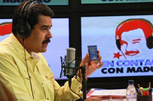 El presidente venezolano Nicolás Maduro durante su participación en un programa desde el palacio presidencial.