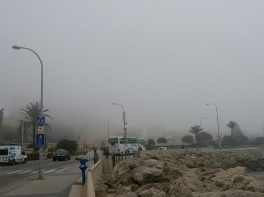 La niebla no deja ver la Seu.