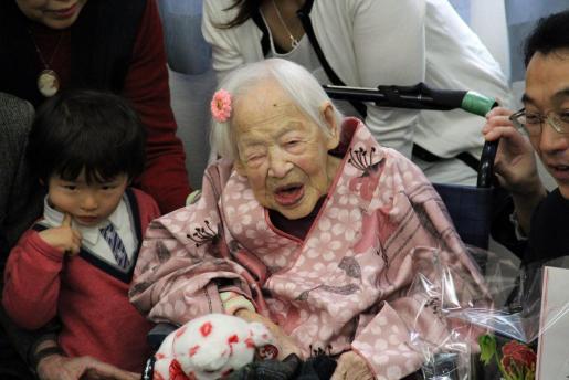 Fotografía fechada el 4 de marzo de 2015 y cedida por la residencia geriátrica de Kurenai que muestra a Misao Okawa.