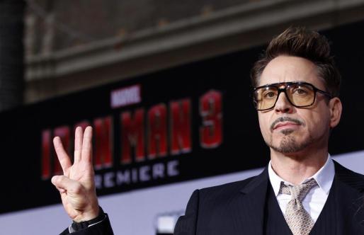 El actor Robert Downey Jr., durante la presentación de la película 'Iron Man 3'.