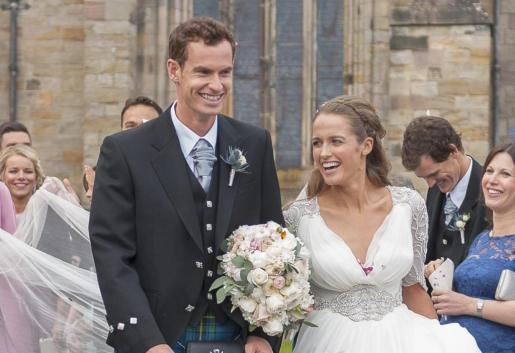 El tenista Andy Murray y su esposa, Kim Sears.