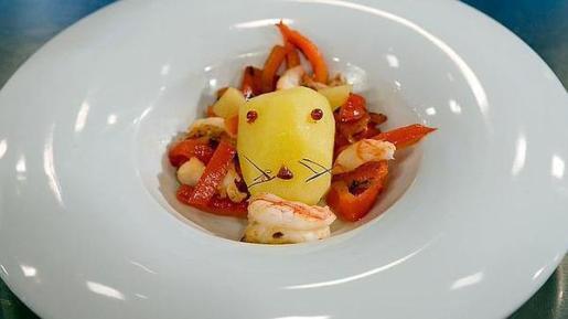 'El león come gambas' fue el plato elegido por Alberto.