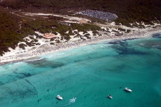 Vista aérea de la playa de Es Trenc.