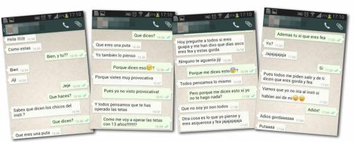 Pantallazos del acoso que recibió la víctima a través de whatsapp.
