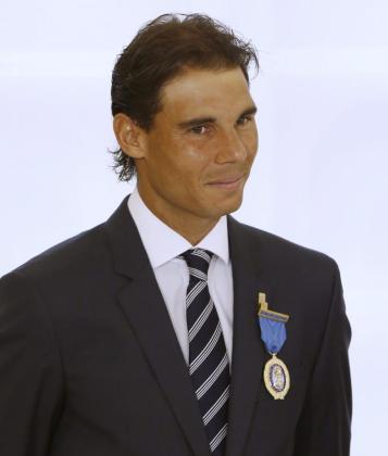 El tenista Rafael Nadal, tras recibir la Medalla de Oro al Mérito en el Trabajo.