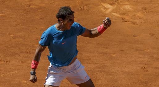 El español Rafael Nadal celebra su victoria ante el checo Tomas Berdych.