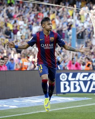 El jugador del Barça Neymar celebra su gol.