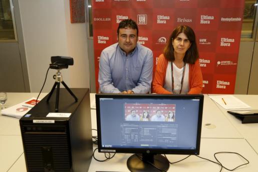 El candidato al Govern por Guanyem, Manel Carmona, durante el vídeochat de Ultimahora.es junto a la responsable de la sección digital, Ángela Moreda.