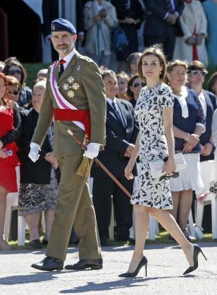 Los Reyes Felipe y Letizia presiden el acto solemne de Jura de Bandera de los nuevos Guardias Reales.