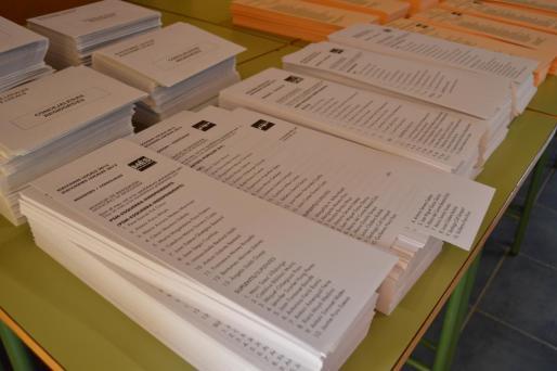 Las papeletas de MÉS en la Escuela Graduada de Binissalem con el nombre que la formación presentó hace cuatro años.