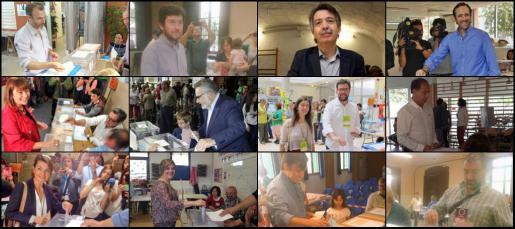 Imagen de diferentes candidatos votando en sus respectivos colegios electorales.