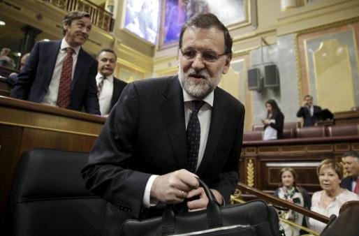 Mariano Rajoy durante la sesión de control de este jueves en el Parlamento.